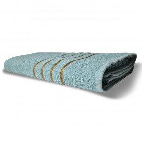 Toalha de Banho Avulsa Unitária Coleção Dubai Barras Douradas na Cor Azul Claro