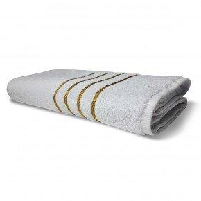 Toalha de Banho Avulsa Unitária Coleção Dubai Barras Douradas na Cor Branca