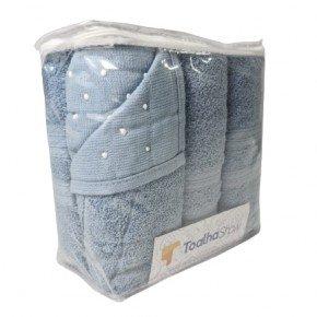 Jogo de Toalhas Coleção Lisboa Para Presente com Embalagem Reutilizável na Cor Azul